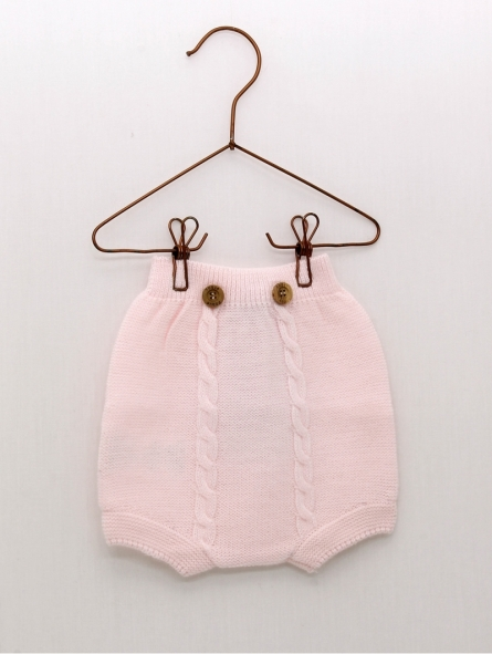 Baby boy bloomers with cable trim