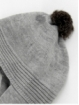 Gorro bufanda com pompón de cabelo natural