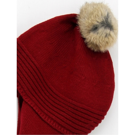 Hat scarf with natural fur pompom