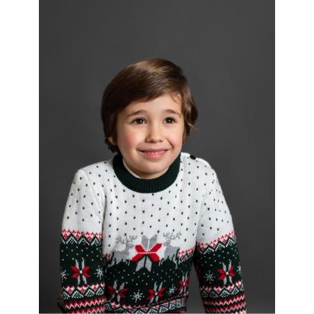 Boy jumper with reindeer fretwork