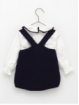 Garter stitch romper and blouse with trim