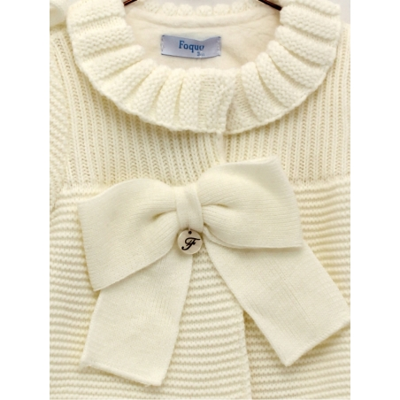 Baby girl set of knitted coat with sheepskin lining and bonnet