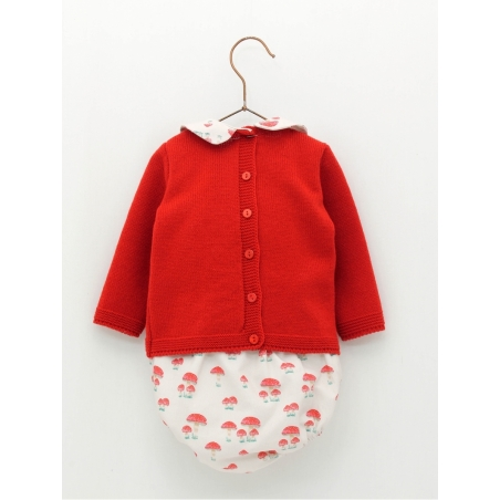Set of sweater with little dwarf print and muschroom bloomers