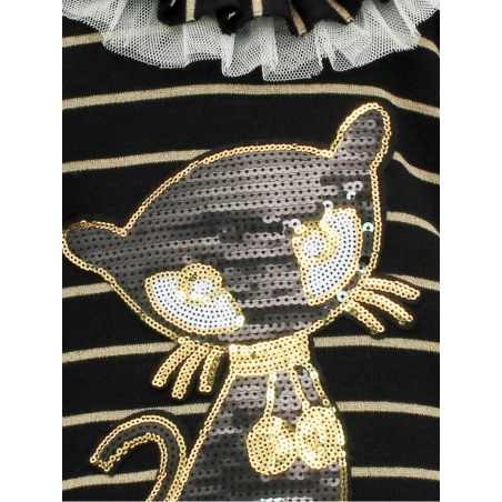 Baby girl set with sequined cat