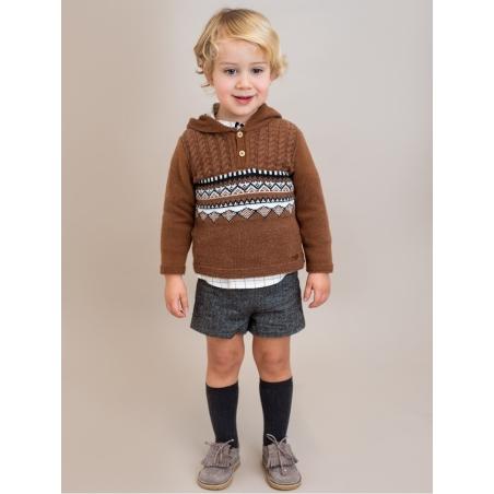 Conjunta criança de camisa quadros e calça curta