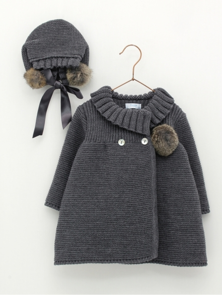 Knitted coat and bonnet with pompoms