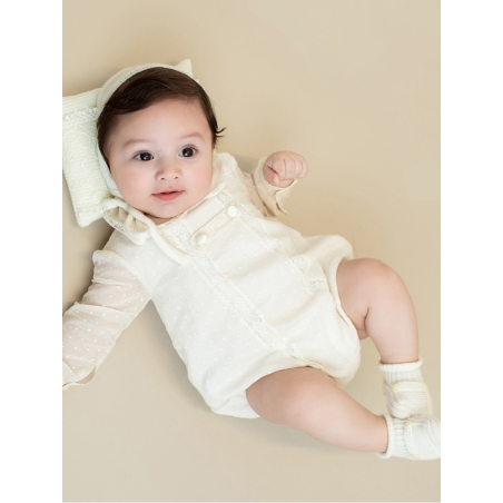 Bobble stitch romper with Peter pan collar