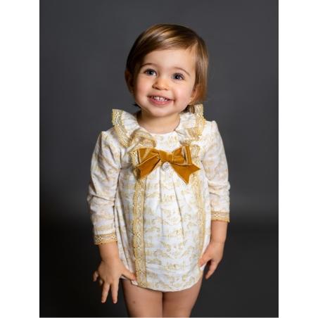 Vestido e cuequinha bebé criança em toile de jouy