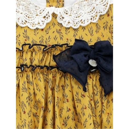 Vestido criança estampado pescoço guipur