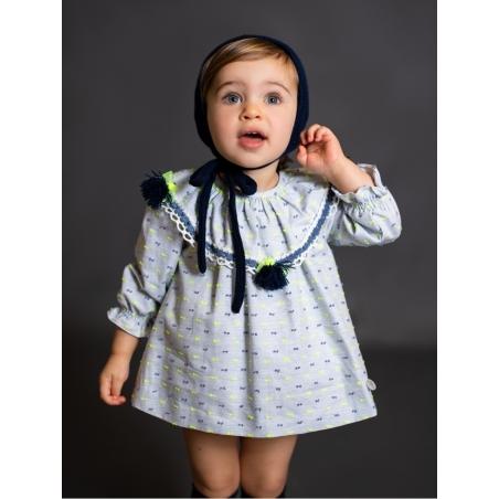 Vestido jesusito niña con pompones