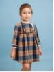Vestido criança quadros corte cintura