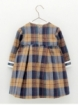 Checked girl dress with waist cut