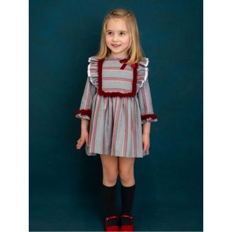 Vestido criança corte cintura tecido listras