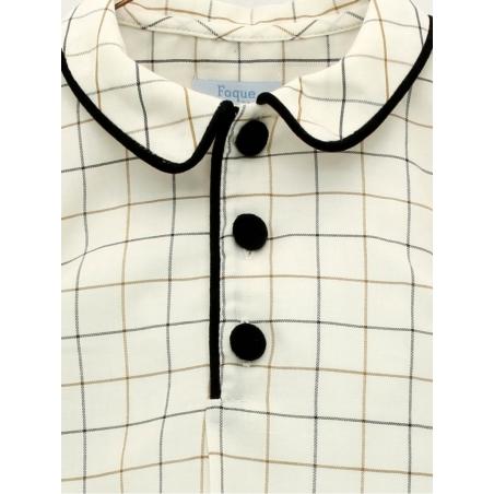 Checked boy shirt with velvet trims