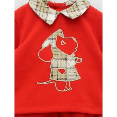 Jersey y pantalón bebé niño felpa perro bordado