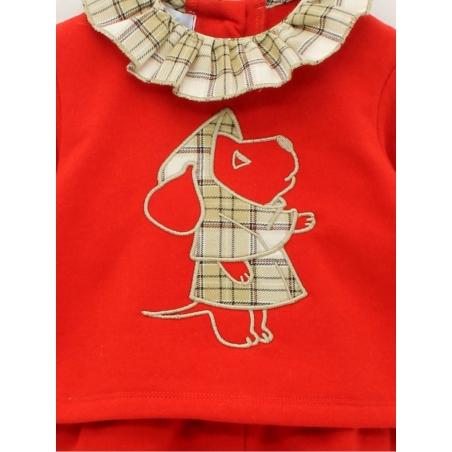 Jersey y pantalón bebé niña felpa perro bordado