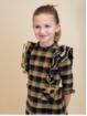 Vestido criança estampado quadros e volantes