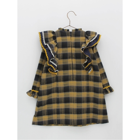 Checked girl dress with ruffles