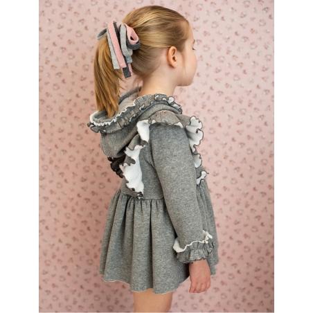 Vestido criança capucha tecido sudadera