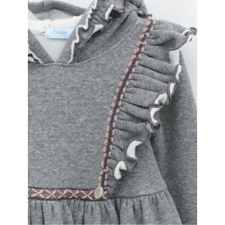 Girl dress with hood in sweatshirt fabric