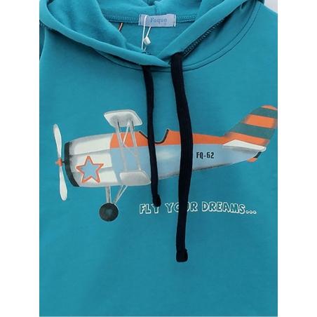 Sudadera niño capucha con avioneta