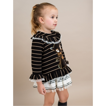 Striped girl jumper with sequened cat