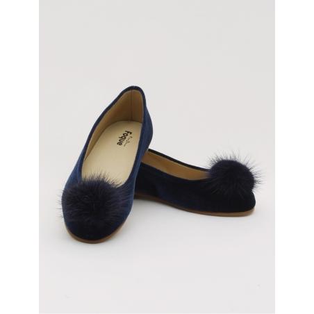 Velvet ballerina girl shoes with pompom